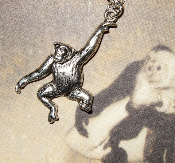 Monkey Necklace, Swinging Monkey, Animal Necklace, Monkey Charm, Animal Charm Pendant, Chimpanzee Charm, Chimp Necklace, Simple Necklace