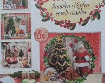 """Bloc  8 cartes en forme de boites noel , cartes prédécoupées """"merry and bright"""""""