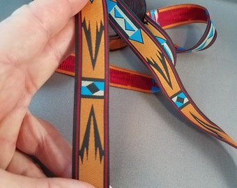 Native Plains Woven Fabric Trim 7/8 inch wide sold by the yard