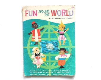 Fun Around the World Activity Book International Games Vintage