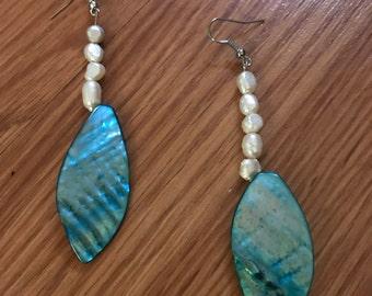 Boho abalone teal drop earrings