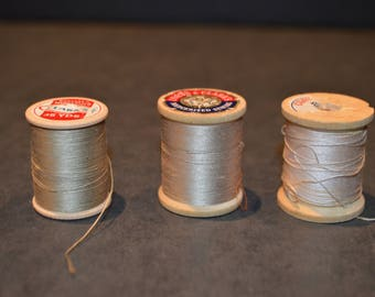 Coats and Clark's Wood Spools with Tan Thread
