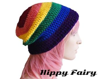 Womans Rainbow Pride colors ,Vegan friendly slouch beanie,