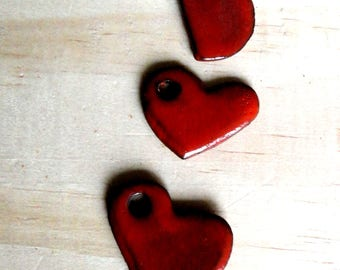 3 hearts in earthenware, red enamel - charms and pendants - ceramic hand made jewelry creations