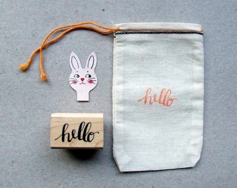 hello stamp, Hello Calligraphy Stamp, Hand Lettered Rubber Stamp, DIY Note Card Stationery Stamp, Paper Crafting Stamp