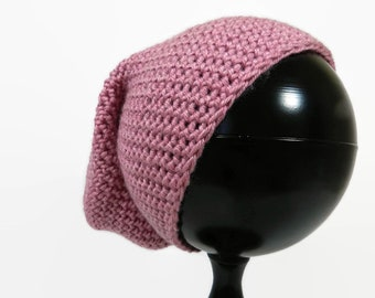 Teen Slouchy Beanie, Rose Pink Hat, Crocheted Winter Toque