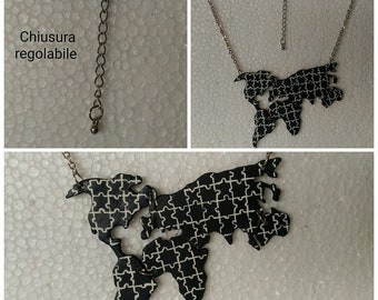 World map Necklace Resin Puzzle
