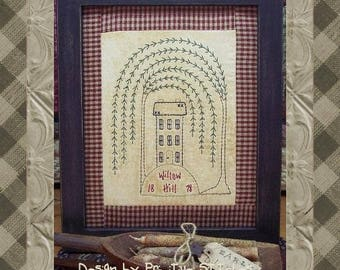 Willow Hill-Primitive Stitchery  E-PATTERN-INSTANT DOWNLOAD
