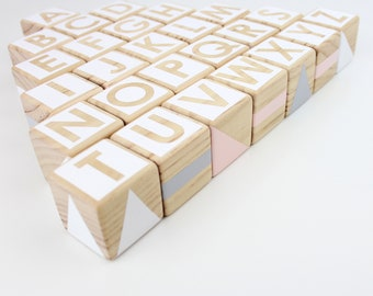 Wooden alphabet blocks - pink, grey + white