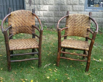 Vintage Old Hickory Style Barrel Back Chairs