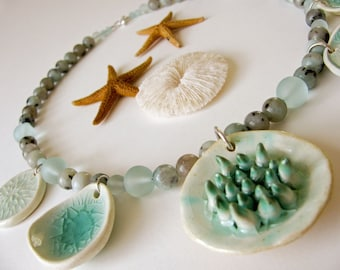 Sea Breeze Necklace Handsculpted Clay Beads