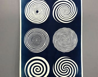 Large Hypnosis 'Types' Cyanotype Chart Signed