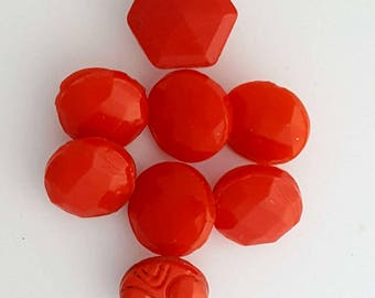 Vintage Diminutive Red Cut Glass Shank Buttons/Sewing Notions