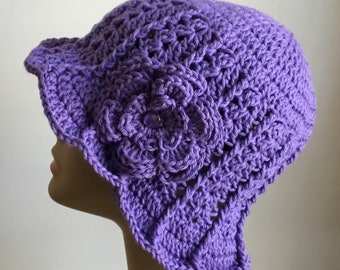 Women's crochet  sun hat, summer / spring,  COTTON, chemo hat, purple,  removable flower, Ready to ship. S67