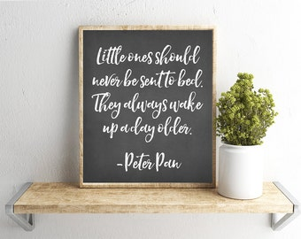 Printable Wall Art, Peter Pan Quote, Chalkboard Background, Home Decor, Instant Download