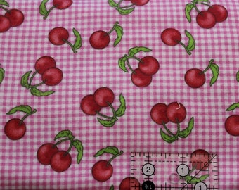 """Cherries on Pink gingham 100% cotton flannel  41""""-44"""" wide"""
