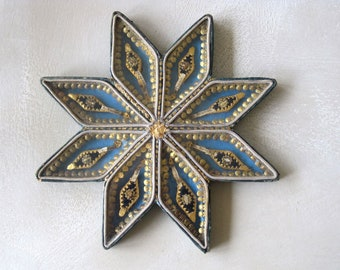 Antique French Paperolle Star Reliquary 8 Relics Agnus Dei, St Therese, Francois de Sales, Germaine, Constance, Vincent, Delphine, S Martyrs