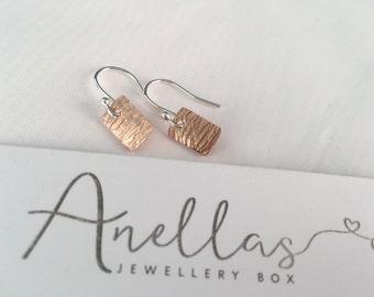 Mixed Metal Earrings, Dangle Earrings,  Sterling Silver Earrings, Copper Earrings, Rectangular Earrings, Everyday Earrings, Simple Earrings