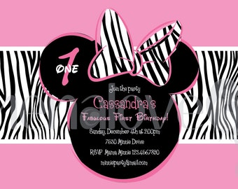Minnie Mouse Zebra - DIY - Invite