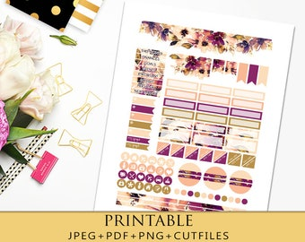 Fall Floral Monthly View Printable Planner Stickers for Erin Condren Planner/November Monthly Kit/Printable Stickers for Horizontal EC