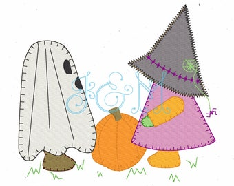 Halloween Bonnets Ghost and Witch Vintage Style Applique Machine Embroidery Design 5x7