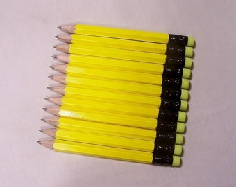 144 Neon Yellow -Mini short half Hexagon Golf #2 Pencils with erasers Pre-Sharpened Made In the USA - Non Toxic Latex Free Express PencilsTM