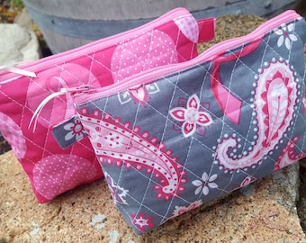 Breast Cancer Awareness Makeup Bag, Personalized Quilted Cosmetic Bag, Paisley Cosmetic Case