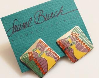 """Vintage Bird Earrings By Laurel Burch """"MOONDOVES"""""""