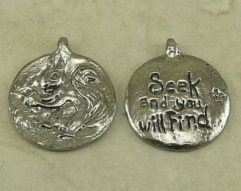 Squirrel Green Girl Charm Pendant - Forest Creature Ground Tree Gray Bushy Tail Camping - American Artist Made Lead Free Pewter Silver 483