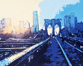 Painting: Brooklyn Bridge Sunset (Inquire Directly, Not For Sale on ETSY)
