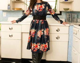 90s Navy Floral Fit and Flare Long Sleeve Dress