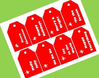 Red and White Printable Christmas Gift Tags