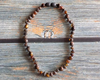 """11.75"""" Self-Esteem Boost Amber and Gemstone Necklace Knotted on Silk Teething Necklace Natural Pain Relief, Infused with Intention"""