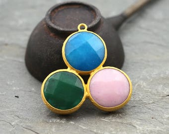Gemstone Pendant, Multicolor Jade Pendant, Jade Necklace Jewelry, Gemstone Jewelry 44mm 24K Gold Plated Bezel Charm Pendant - GS060