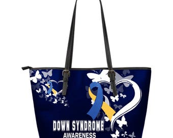 Down Syndrome Awareness Leather Tote Bag