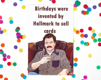 Ron Swanson Birthday Card (Parks and Recreation card, Parks and Rec, Leslie Knope, Andy Dwyer, Treat yo Self, Funny Card)  (100% Recycled)
