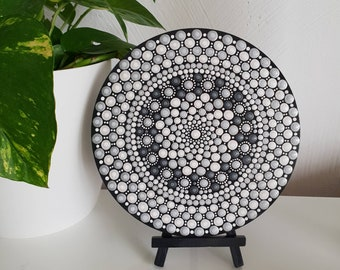 Monochrome Mandala Art - Dot Art - Black White Grey Painted Wood - Hand-Painted Meditation Mandala Rock - Home Decor - Chakra Painting