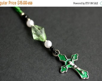 MOTHERS DAY SALE Christian Bookmark. Cross Book Marker. Emerald Green Bookmark. Beaded Book Thong. Crucifix Book Charm.