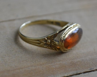 HOLD Beautiful antique victorian / edwardian 10k gold ring / pinky ring with citrine paste gemstone and floral shank
