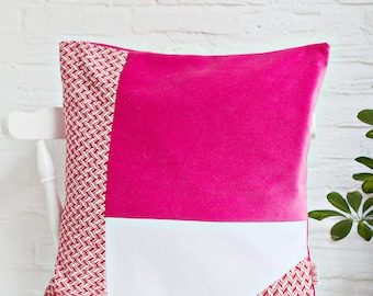 Mixed fabrics Colorblock Pillow Cover in woven red, white and hot pink velvet, Modern Home Decor, 3 Tone Color Block Velvet Cushion Cover