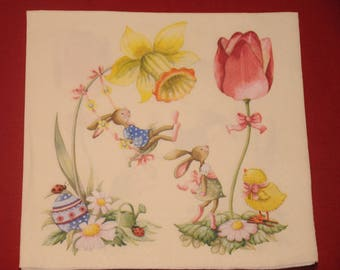 "theme ""bunnies"" Easter napkin"