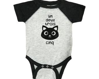 Connie the Cat // Baby Baseball Bodysuit One Piece // Un Deux Trois Cat Cinq // 12345 // French // Franglais // Funny Cat Pun Joke