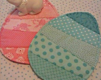 NEW - 2 Easter Egg Mug Rugs - Choose Colors - Coasters - Set of Two - Candle Mats