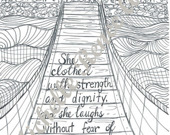 Bible Verse Coloring Page: Proverbs 31.25 Digital Instant Download