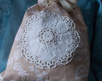 Lingerie bag in ticking and antique linen