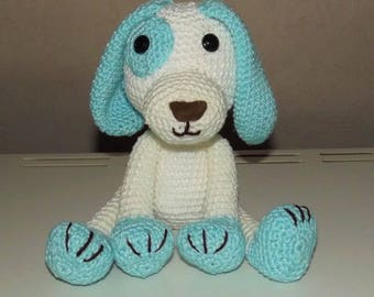Dog toy color sky blue and white