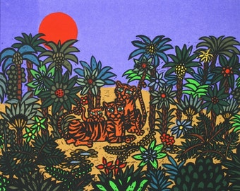 Ostrich In An Oasis  A woodcut serigraph by Barbara Fernekes Hughes