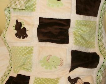 """Personalized Baby Blanket, Appliqued, Minky , """"Little Elephants in Green"""""""