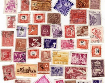 50 Vintage Postage Stamps - red, purple & orange foreign used stamps, world stamps, crafts, postal scrapbooking, travel altered art, collage