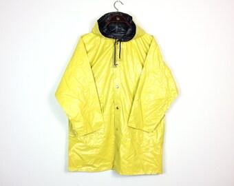 Vintage REVERSIBLE Yellow Rain Coat Blue Hood Parka Mac Jacket Hipster Sailor Unisex Canary PVC Rain Slicker Small UK 10 12